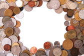 Europe and world coins frame — Stock Photo