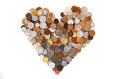 Heart from world coins — Stock Photo