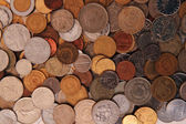 Europe and world coins background — Stock Photo