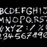 Snow christmas alphabet on black background — Stock Photo #44448123