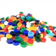 Color plastic caps from pet bottles — Stock Photo
