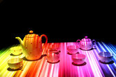 Porcelain in the night (color light effect) — Stock Photo