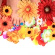 Women feets and flowers (pedicure tbackground) — Stock Photo #46704037