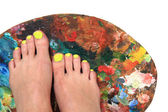 Colored nails (pedicure) and color palette  — Stock Photo
