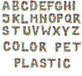 Alfabeto de tampas plásticas — Fotografia Stock