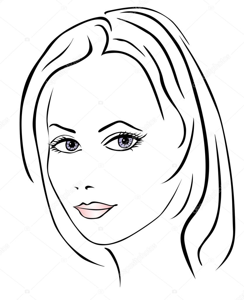 Line Drawing Female Face : Image gallery line drawing woman face
