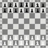 Uppsättning av chess siffror med trä torget checkmate styrelse — Stockvektor