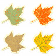 Set of vintage colorful maple leaves  — Stock Vector