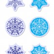 Grunge snowflakes stickers set  — Stock Vector