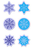 Vector snowflakes stickers set — Stock Vector