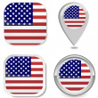 USA Flag icon button sticker point marker — Stock vektor