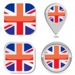 flag icon button sticker map point marker of great britain  — Stock Vector