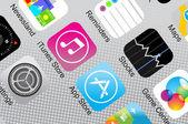 Primer plano de iconos de aplicaciones — Vector de stock
