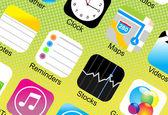 Gros plan d'icônes d'application — Vecteur