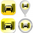 Car wash icon button sticker point marker — Stock Vector