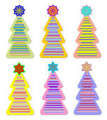 Color christmas tree and snow star sticker — Stock Vector