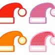Santa hat sticker collection  — Image vectorielle