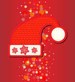 Santa hat on red background — Stock Vector