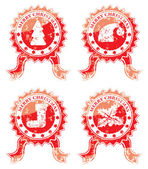 Merry christmas stamp isolated on white — Stock Vector