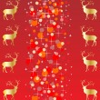 Red christmas background with reindeer vector illustration — Stock Vector