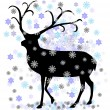 Stock Vector: Reindeer with snow star vector illustration