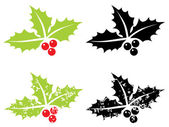 Holly berry grunge - Christmas symbol — Stock Vector