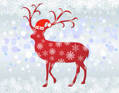 Reindeer with santa hat background — Stock Vector