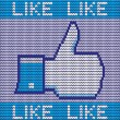 Stock Vector: Facebook like button made of wool