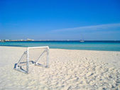 Beach Soccer Football Net by the Sea — Stock Photo