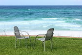 Two Beach Chairs with Ocean View — Stock Photo