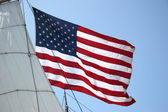 United States Flag with Ship Sail — Stock Photo