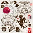 Royalty-Free Stock : Valentines vector vintage set of frames, flowers and symbols of love