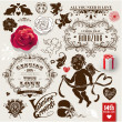Valentines vector vintage set of frames, flowers and symbols of love — 图库矢量图片