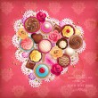 Valentines background with heart-shaped napkin and sweets - Stock Vector