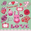Set of hand-drawn valentine elements for design - Stock Vector