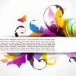 Background with colored floral ornament and banner for your text. EPS10 — Stock Vector
