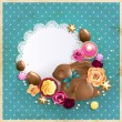 Chocolate Easter bunny with Easter Eggs background - Stock Vector
