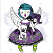 Artistic vector illustration: angel-girl holding cat — Vector de stock #22169503