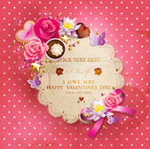 Valentine Day lacy frame for your text — Stok Vektör