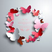 Wreath made of paper butterflies — Stock Vector