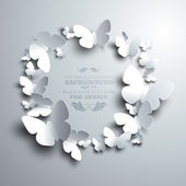 Wreath made of white paper butterflies — Stock Vector