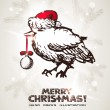 Christmas and New Years postcard with Christmas sparrow  — Stok Vektör