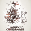 Hare and bird are decorating Christmas tree. — Stockvectorbeeld