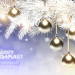 Cold christmas background with golden baubles — Imagen vectorial