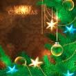 fundo de Natal com galhos de árvore de Natal — Vetorial Stock