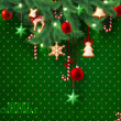 Christmas vintage grunge green background with christmas tree branches and decorations — Vektorgrafik