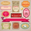 Set of vintage stickers, cards and labels. — Imagen vectorial