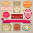 Set of vintage stickers, cards and labels. — Stock Vector