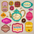 Vintage set of grunge stickers, labels and tags for coffee or bakery — Stock Vector