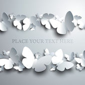 White background with horizontal frame made of cutout butterflies — Stock Vector